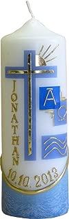 MeissnerHandel mit indiv Auswahl farbig getaucht ca blau inkl 001 Kerzenst/änder aus Messing Lebenslicht Geburtskerze Geburtstagskerze 60 x 240 mm Name und Datum