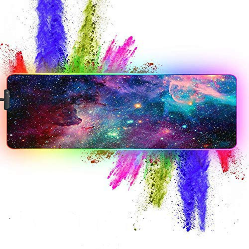 ZYCCW Large RGB Gaming XXL Mouse Pad with Stitched Edge 31.5'x11.8'x0.15' Galaxy Nebula Universe Mouse Mat Customized Extended Glowing Led Gaming Mouse Pad Anti-Slip Rubber Base Ergonomic Mouse Pad