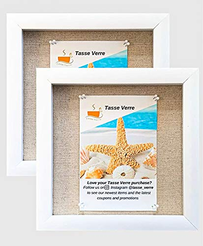 """Tasse Verre 8""""x8"""" White Display Shadow Box (2-Pack) Frame w/Linen Background and 16 Stick Pins - Ready to Hang Shadowbox Picture Frame - Easy to Use - Box Display Wedding Baby and Sports Memorabilia"""