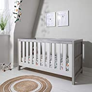 BIRTH TO 6 YEARS - Can be used as a cot bed from birth and then converted into a toddler bed for kids aged up to 6 years. ADJUSTABLE BASE - Three position adjustable mattress base, can be used for a long time. TEETHING RAILS - Fixed-side cot with dur...