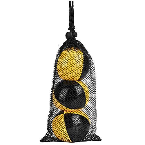 3PCS Thud Malabares Bolas, Amarillo Negro PU Thud Malabares Bolas Payaso Jugando Malabares Ball Set para principiantes