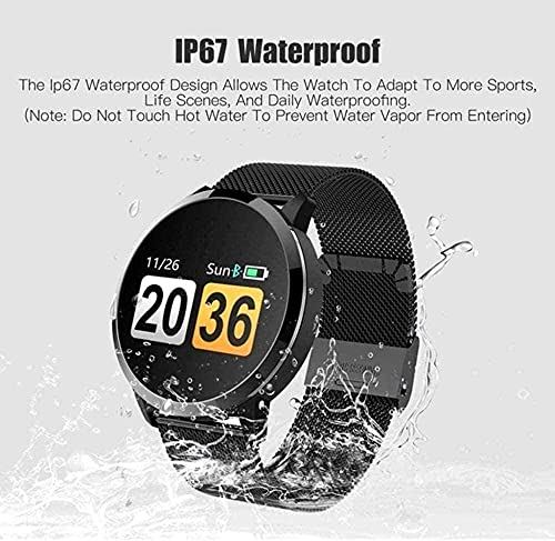 Reloj de pulsera para mujer, IP67, resistente al agua, reloj inteligente de sueño, frecuencia cardíaca, monitor de actividad de calorías, recordatorio de periodo Bluetooth, color negro y rosa