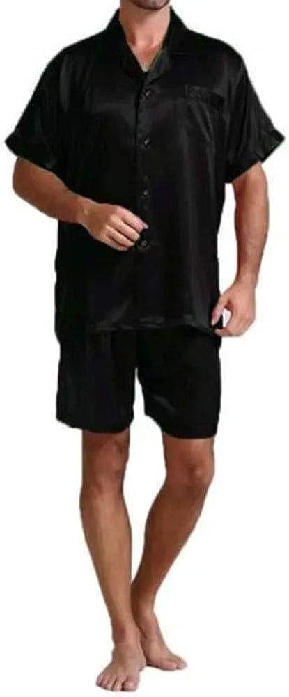 Harvest8 Men's Satin Silky Pajamas Set Short Sleeve Button Shirt Tops + Shorts Pants Summer Sleepwear Homewear
