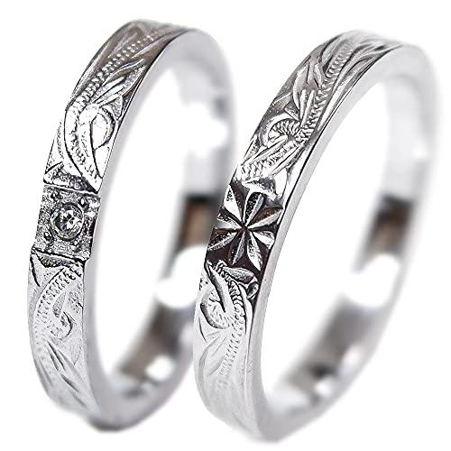 ペアリング 刻印無料 ペアハワイアンジュエリー リング 指輪 カップル サージカルステンレス 花 写真フレーム シルバー メンズ:15号 レディース:7号