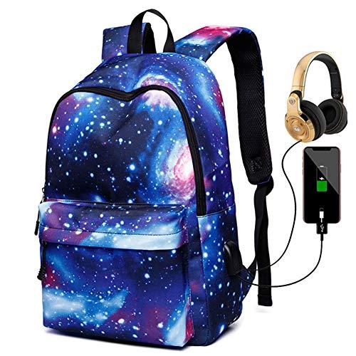 Deeumy Galaxy Schultasche Rucksack, Kinder Schule Schulrucksäcke Unisex Daypack Laptop Tasche Backpack Freizeitrucksack mit USB Port