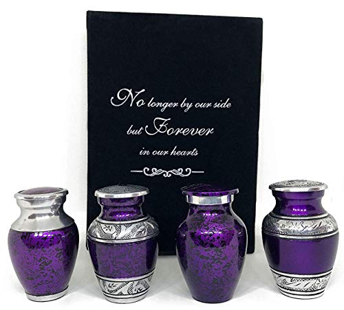 Solace Forever Mini Cremation Keepsake Urns for Human Ashes - Beautiful Small Urns Color Purple Set of 4 with Premium Case - Handcrafted Cremation Urns for Ashes - A Lasting Tribute to Your Loved One
