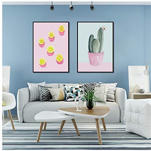 NIESHUIJING druk op canvas cartoon ijs citroen dessert plant canvas schilderij muurkunst schilderij-50x70cm geen lijst