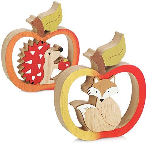 com-four® 2X Manzana Decorativa de Madera - Motivo de Erizo o Zorro - decoración de otoño para Dejar - Figura Decorativa para el otoño [la selección varía] (02 Piezas - Mix1)
