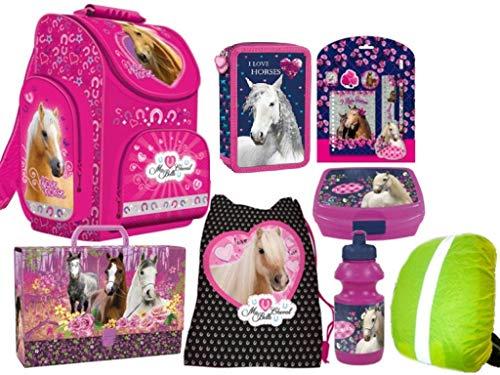 Paard Horse Pony Schooltassenset Schooltas, sporttas, broodtrommel, drinkfles, schrijfset, DIN A4 map, regenbescherming 13-delige set I Love Horses