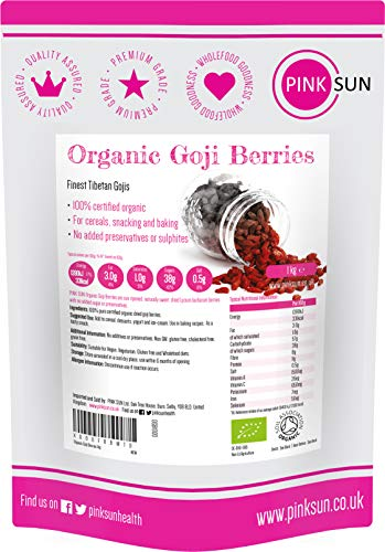 PINK SUN Organic Goji Berries 1kg (or 2kg 4kg) Raw Natural Sun Dried Gluten Free Preservative Free No Added Sugar or Sulphites from Tibetan Plateau Vegetarian Vegan 1000g Bulk Buy Non GMO