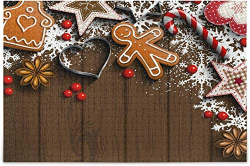 Adornos y especias de pan de jengibre de Navidad 1000 piezas Rompecabezas para adultos Niños Regalo de bricolaje Rompecabezas de madera
