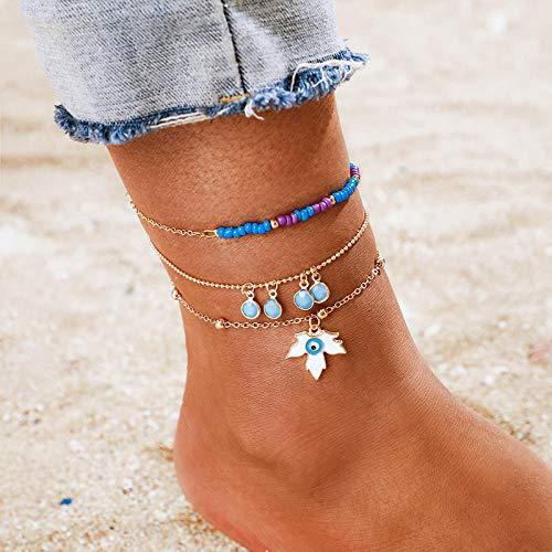 U/N Bohemian Ankle Bracelets Set Multilayer Eye Maple Leaf Blue Pendant Bracelets Women Anklet Foot Jewelry Gift 3Pcs