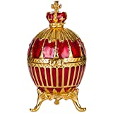huevo ruso de Estilo Faberge / caja de joya con corona del Emperador de Rusia 6,5 cm rojo