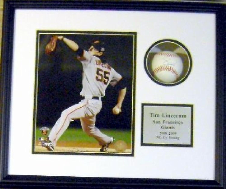 Tim Lincecum Autographed Ball  Shadowbox Framed )  Autographed Baseballs