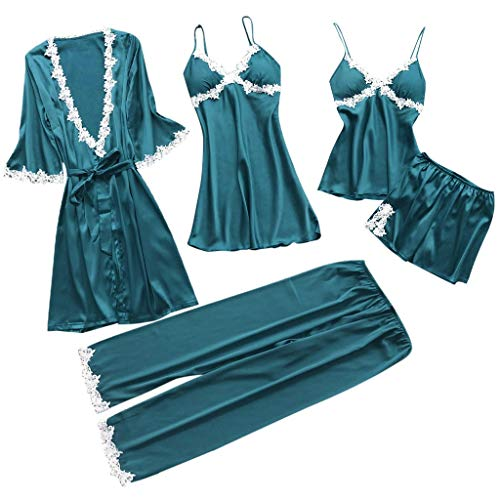 Proumy Conjunto Pijamas Mujer Verano Batas Sexy de Seda 5