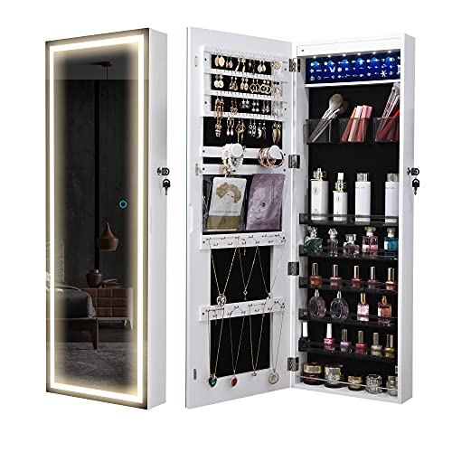 LVSOMT Armario para joyas con LED de cuerpo entero, espejo de pared, armario de joyas, armario de joyas, armario de madera, armario de almacenamiento con cerradura, color blanco…