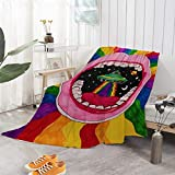 Anuruddha Trippy Alien Blankets Used for Beds Sofas Warm and Comfortable Microfiber Flannel Lightweight Blankets (Men, Women)