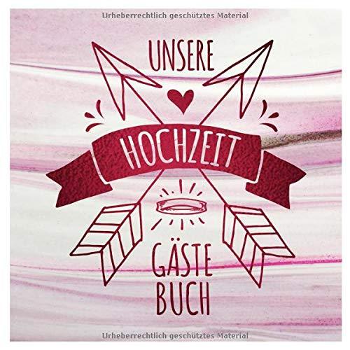 Unsere Hochzeit Gästebuch: Boho Design Gäste Buch Unliniert zum Ausfüllen - Blanko Hochzeitsfeier Brautpaar Erinnerungsalbum, Leere Seiten - Modern Rot Weiß Pink