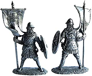 Military-historical miniatures Byzantine standard bearer 12-13 century Tin Metal 54mm Action Figures Toy Soldiers Size 1/32 Scale for Home Décor Accents Collectible Figurines ITEM #P14