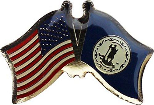Wholesale Pack of 6 USA American State Virginia Flag Bike Hat Cap lapel Pin