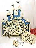 fsss Ltd Feenschloss mit 52 Herzen, Aschenputtel-Box für Hochzeiten, alternatives Gästebuch für Jahrestag, Geburtstage, Hochzeiten, Metallic-Blau Metallic Blue Cinderella