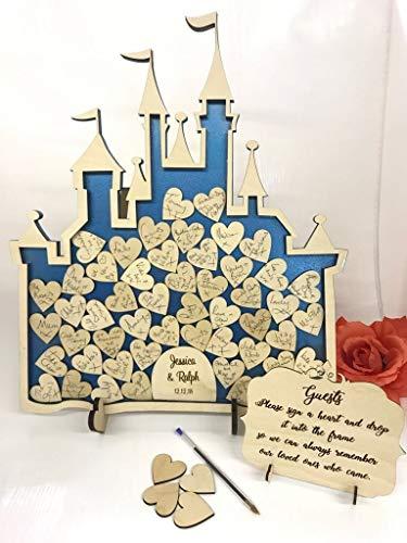 fsss Ltd Feenschloss mit 52 Herzen, Aschenputtel-Box für Hochzeiten, alternatives Gästebuch für...