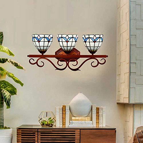 Tiffany Style Badezimmerspiegel Vorne Wandlampe,3 Spots LED Makeup Außenlampe, Vintage Glasmalerei Schlafzimmer Korridor Kerzen-Wandleuchten Mehrflammige Leuchten