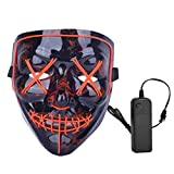 HXW Scary LED Mask Halloween Costume Light up Mask Cosplay EL Wire Mask Glowing mask (Red)