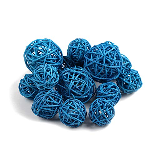 Qingbei Rina Small Wicker Rattan Balls Bag, Garden, Wedding, Party Decorative Crafts, House Ornaments, Vase Fillers Decorative Orbs Natural Spheres. Set of 18. (Small, Turquoise Blue)
