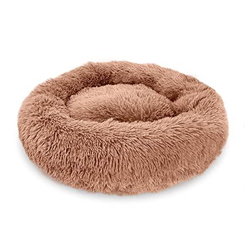 Calming Dog Cat Donut Bed - Fluffy Plush Puppy Kitten Cuddler Round Bed,...