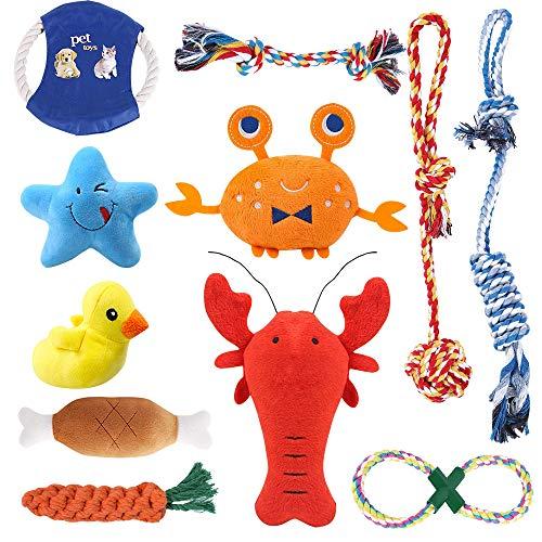 feihao Welpenspielzeug,Hundespielzeug,Hundespielzeug-Set,interaktives,Spielzeug,Welpen Zahnen Spielzeug Hund Seil Kauspielzeug und Quietschende Plüsch Hundespielzeug(11 Stück
