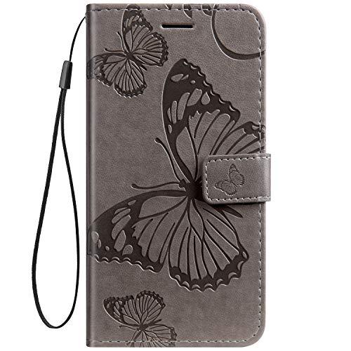 Herbests Kompatibel mit Leder Handy Schutzhülle Motorola Moto Z2 Force Lederhülle Schmetterling Muster Leder Handyhülle Handytasche Brieftasche Ledertasche Bookstyle Flip Hülle Cover Klapphülle,Grau