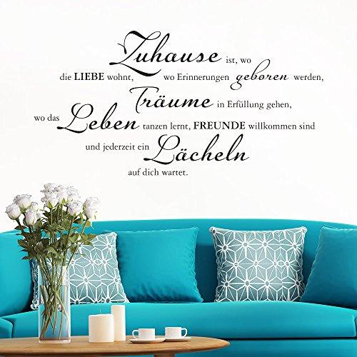 Klebeheld Wandtattoo Zuhause ist, wo die Liebe wohnt (Farbe schwarz/Größe 80x40cm)