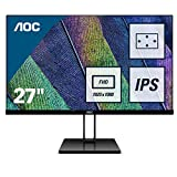 AOC 27V2Q Monitor LED da 27' IPS, FHD, 1920 x 1080, Senza Bordi, HDMI, DP, Nero