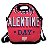 Reusable Lunch Bag for Men Women Emblem Abstract Happy Valentines Day Vintage Amour Creative Date Design Heart Insulated Lunch Tote for Travel Office School