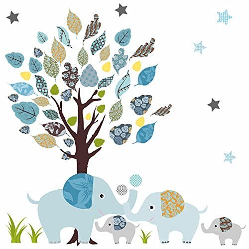 greenluup Öko Wandsticker Kinder Wandaufkleber Elefanten Kinderzimmer Babyzimmer Wanddeko Wandtattoo (Elefanten Blau)