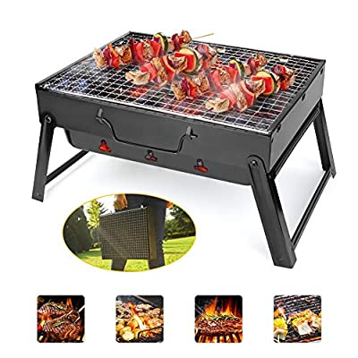 BestFire Charcoal Barbeque Grill Portable BBQ Stainless Steel Outdoor Grill Foldable Patio Grill Barbecue Smoker Grill for Camping Picnic Outdoor Cooking Camping Hiking Garden Party