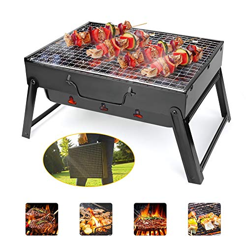 51WWG3Xf+tL. SS500  - BestCool Charcoal Barbecue Grill, Portable BBQ Grill Stainless Steel Foldable Barbecue Smoker Grill Barbecue Desk Perfect for Camping Picnic Outdoor Garden Party