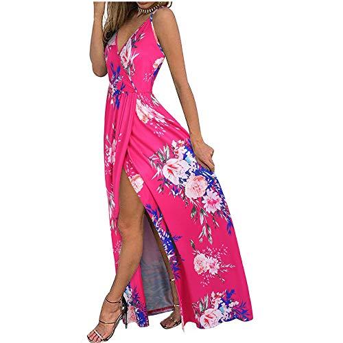 Damen Sommerkleid Mode V-Ausschnitt Ärmellose Sling Blumendruck Strandkleid Lässig Spaghettibügel Bodenlanges langes Maxikleid Für...