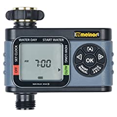 One-zone digital water timer lets you easily set watering schedules Zone can be programmed with up to four start times Set flexible schedules for specific days of the week Manual mode and rain delay pause the watering schedule Large LCD screen for si...