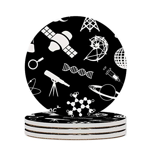 Posavasos para café con símbolo químico de cristal, cojín para decoración del hogar, tazas de corcho, almohadillas para sala de estar, mesa de protección contra arañazos, 4 unidades