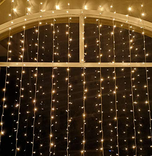 Curtain String Light LED Christmas Lights Icicle String Light Transparent Strand 8 Modes Waterproof Indoor Outdoor Home Decorative Lights for X'Mas Wedding Garden Gazebo Pergola Wall Window