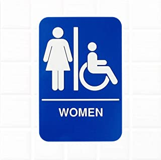 Women Restroom Sign - Blue and White, 9 x 6-Inches Womens Handicap Accessible Restroom Sign, Bathroom Signs for Door/Wall by Tezzorio