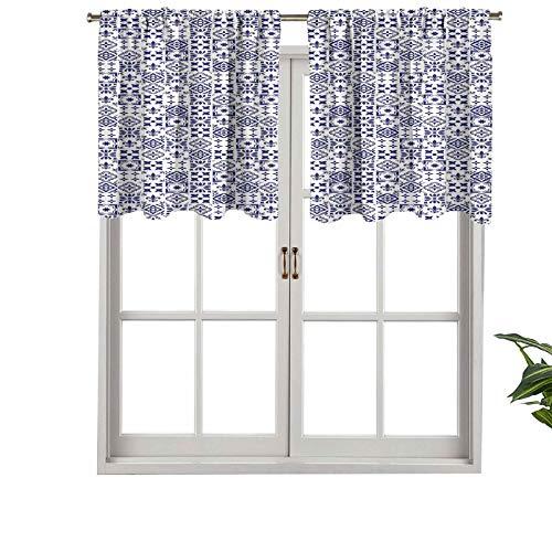 Hiiiman - Cortinas cortas, diseño geométrico de bloques de luz, diseño de azulejo portugués, cuadrado, 1 unidad, 137 x 45 cm, cortinas para ventana para sala de estar