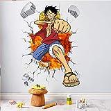 Dibujos animados One Piece Posters Anime Luffy Efecto 3D Adhesivos de pared para habitaciones de niños Vinilos decorativos Niños Decoración para el hogar