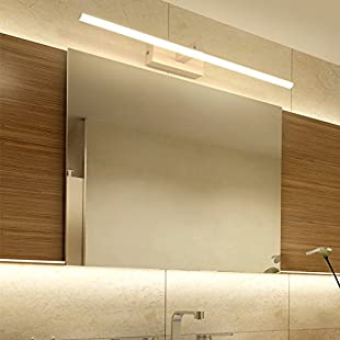 GOUZI Wall lamp personality creative The bathroom mirror led mirror cabinets waterproof anti-fog, Flat tube all white +80CM+18W Wall light for Living room bedroom kitchen bathroom bedside hallway entrance bar