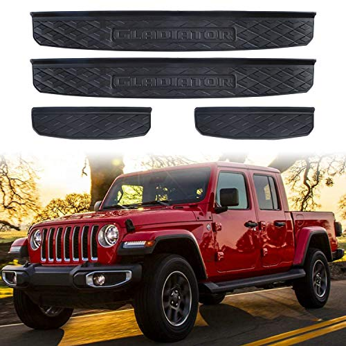 Adust Door Sill Guards Kit for 2020 Jeep Gladiator JT Accessories Parts, Door Entry Guard Kit, Plate Cover with Gladiator Logo (Black, 4 pcs) (Black)