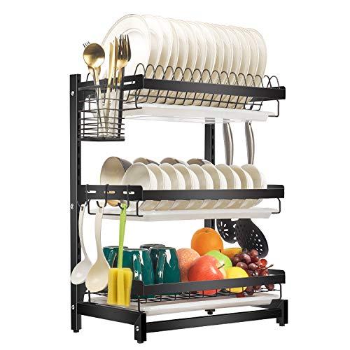 X-cosrack Escurridor de platos de acero inoxidable para secar platos, cuencos y tazas, extraíble, 3 piezas, color negro