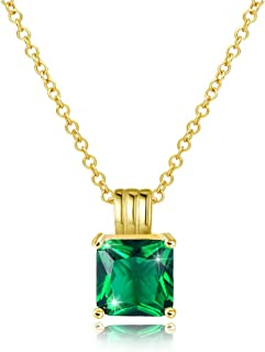 Gold necklaces pendants with cubic-zirconia,charm gemstone chain Jewelry