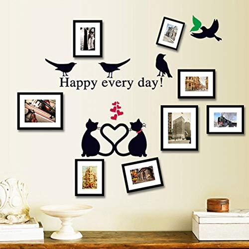 TYLOLMZ Romantische kat muursticker vogel woonkamer achtergrond trap dier sticker op de muur DIY sticker wooncultuur